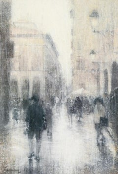 Lucca (Abstracted Figurative Watercolor Painting of Figures in an Italian City)