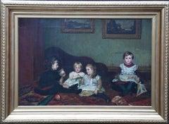 Interior - Children Playing - British Victorian children's portrait oil painting