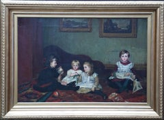 Interior - Children Playing - British Victorian children's portrait oil painting