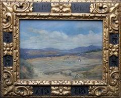 Spanish Landscape - British Impressionist oil painting labourers female artist