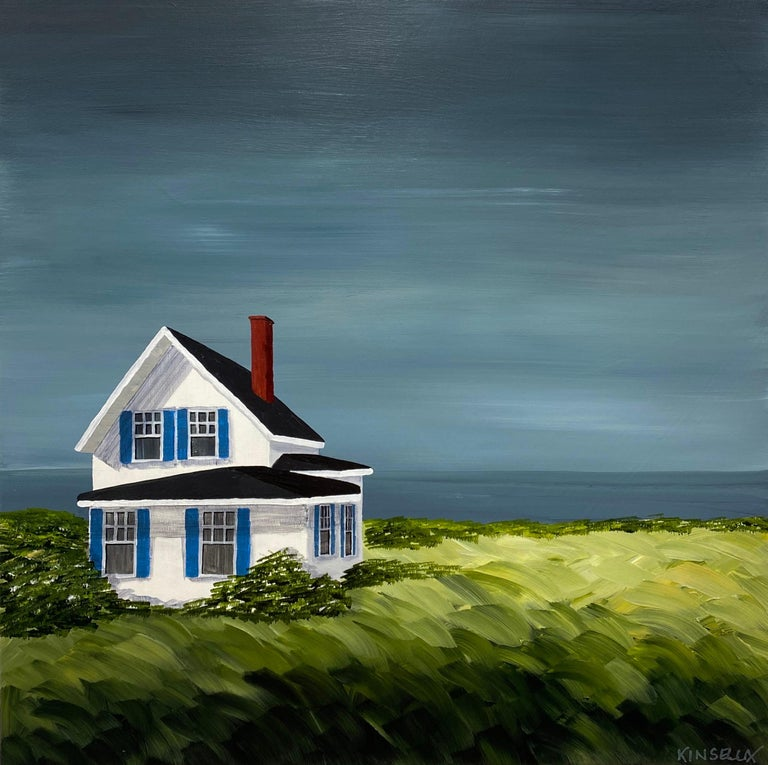 Comfort Cottage Susan Kinsella, Square Landscape Acrylic on Canvas Painting - Gray Landscape Painting by Susan Kinsella