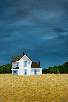 Golden Fields by Susan Kinsella, Acrylic on Canvas Vertical Landscape Painting