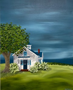 Hydrangea Cottage by Susan Kinsella, Landscape Acrylic on Canvas Painting