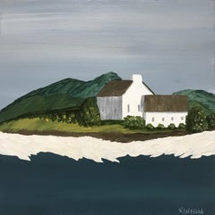 In the Hills by Susan Kinsella, small square contemporary landscape on canvas