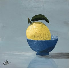 Lemon in Blue, Susan Kinsella Small Contemporary Still-Life Painting