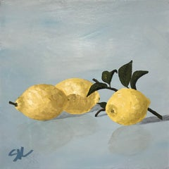 Lemons II, Small Square Contemporary Still Life on Canvas