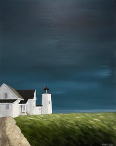 Lighthouse Cottage Susan Kinsella, Vertical Landscape Acrylic on Canvas Painting