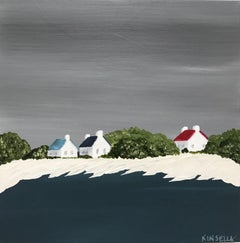 On the Shore by Susan Kinsella, small square contemporary landscape on canvas
