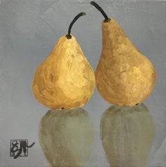 Pears by Susan Kinsella, Petite Contemporary Still-Life Acrylic Square Painting