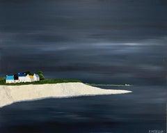 Seaside Village by Susan Kinsella, medium horizontal contemporary landscape