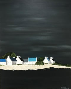 Serene Village by Susan Kinsella, Vertical Contemporary Coastal Painting