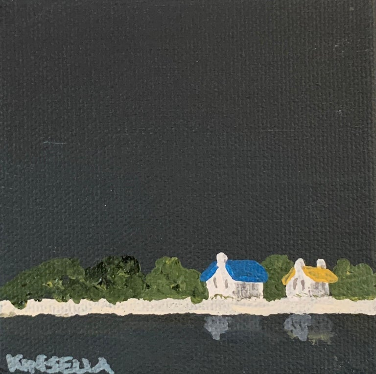 'Small Work C7' is a small contemporary acrylic on canvas coastal painting of square format, created by American artist Susan Kinsella in 2019. Featuring a strong palette made of dark blue grey, black, white and beige colors accented with touches of