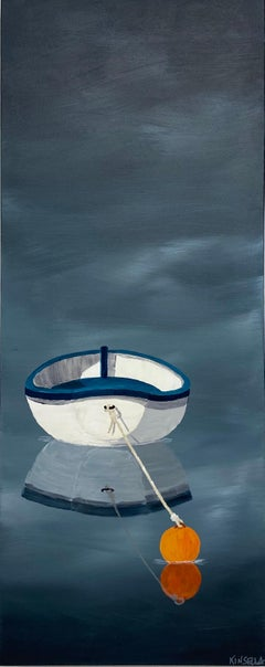 Sunsplashed by Susan Kinsella, Acrylic on Canvas Vertical Boat Painting