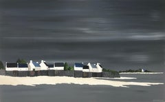 Village by the Sea by Susan Kinsella, medium horizontal contemporary landscape