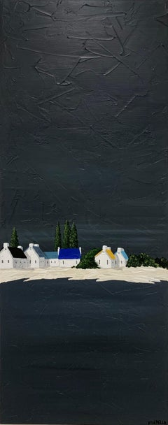 Village in the Pines by Susan Kinsella, Tall Contemporary Coastal Painting