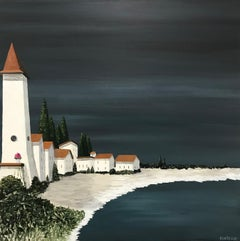 Village of Cypresses by Susan Kinsella, Contemporary Coastal Acrylic Painting