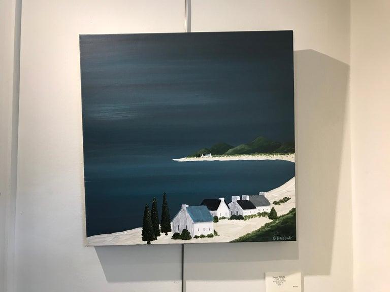 Village of Joy, Susan Kinsella Contemporary Acrylic Coastal Landscape Painting For Sale 1
