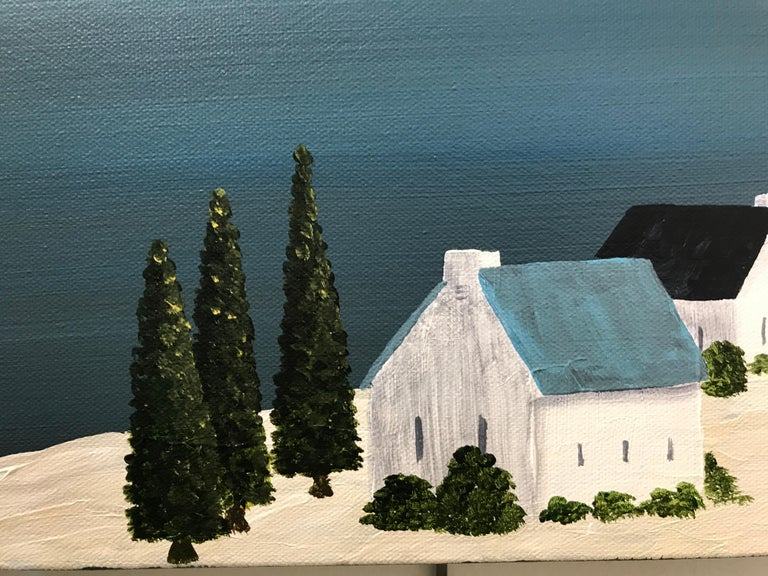 Village of Joy, Susan Kinsella Contemporary Acrylic Coastal Landscape Painting For Sale 3