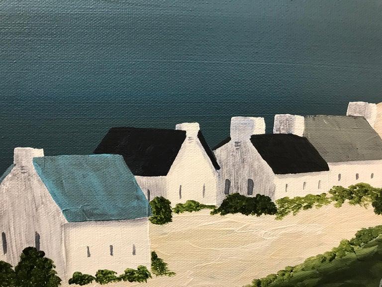 Village of Joy, Susan Kinsella Contemporary Acrylic Coastal Landscape Painting For Sale 5