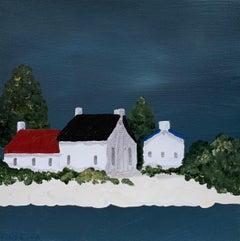 Village V by Susan Kinsella, Small Acrylic Contemporary Coastal Painting