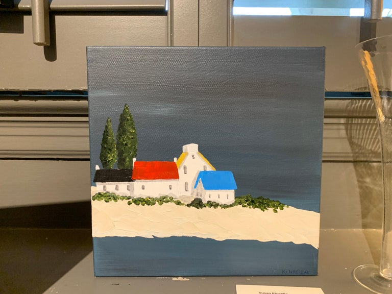 Village XIV by Susan Kinsella, Small Acrylic Contemporary Coastal Painting For Sale 1