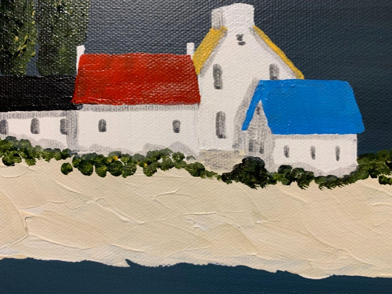 Village XIV by Susan Kinsella, Small Acrylic Contemporary Coastal Painting For Sale 4