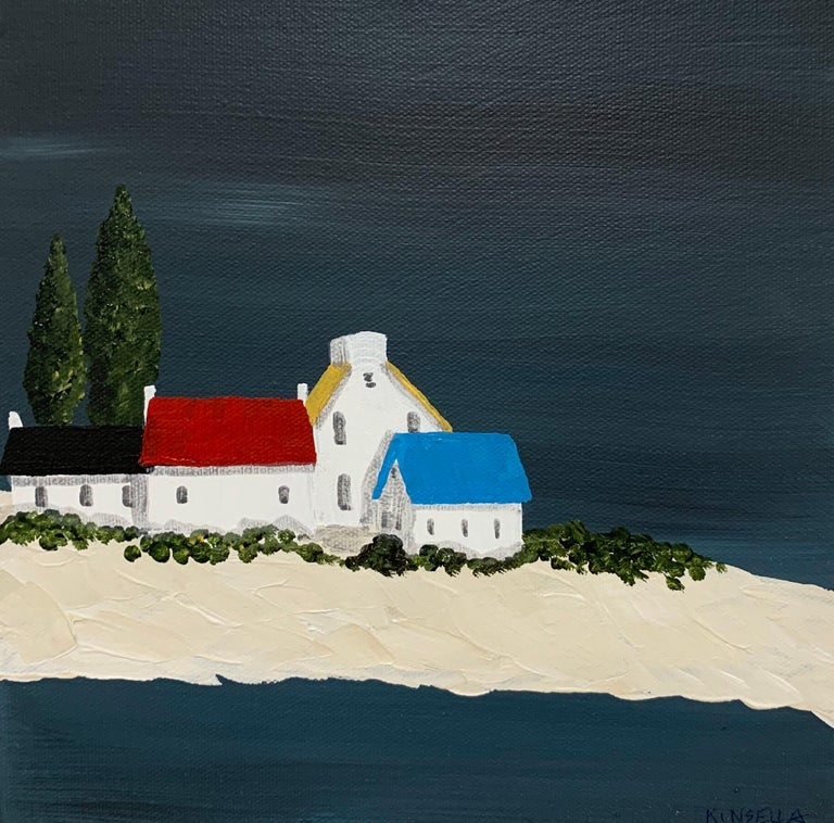 'Village XIV' is a small contemporary acrylic on canvas coastal painting of square format, created by American artist Susan Kinsella in 2019. Featuring a strong palette made of dark blue grey, black, white and beige colors accented with touches of