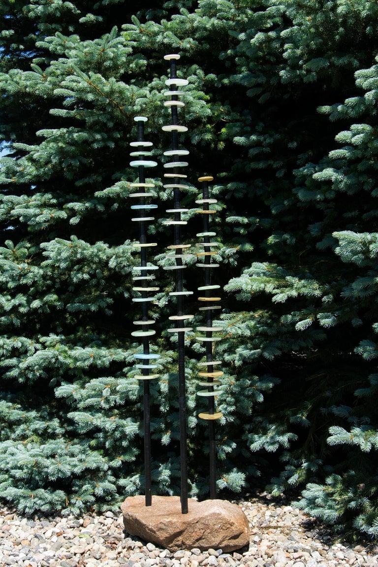 Quiet Neutral - tall, soft pastel colours, hand-blown glass outdoor sculpture - Contemporary Sculpture by Susan Rankin