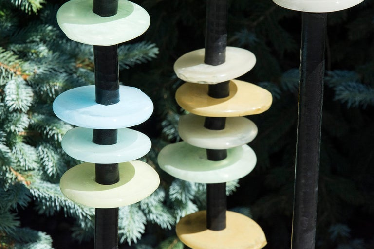 Quiet Neutral - tall, soft pastel colours, hand-blown glass outdoor sculpture For Sale 1