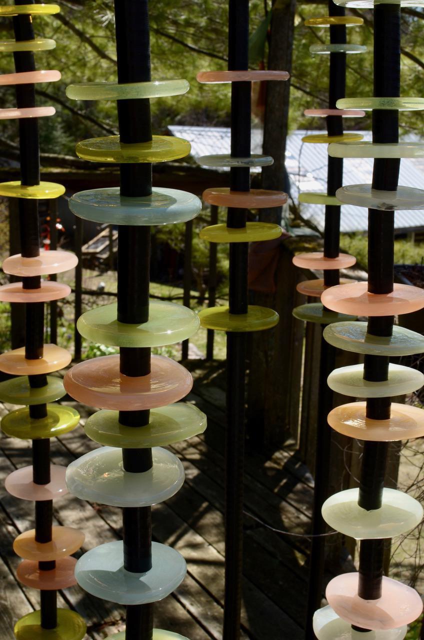 Quiet Neutral - tall, soft pastel colours, hand-blown glass outdoor sculpture