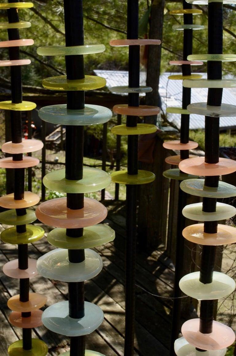 Susan Rankin Still-Life Sculpture - Quiet Neutral - tall, soft pastel colours, hand-blown glass outdoor sculpture