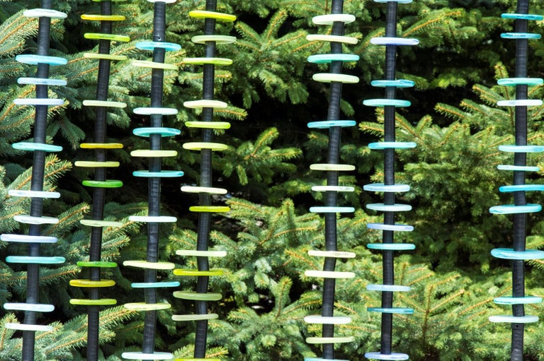 Standing Grove in Blues and Greens - tall, colourful, hand-blown glass sculpture - Contemporary Sculpture by Susan Rankin