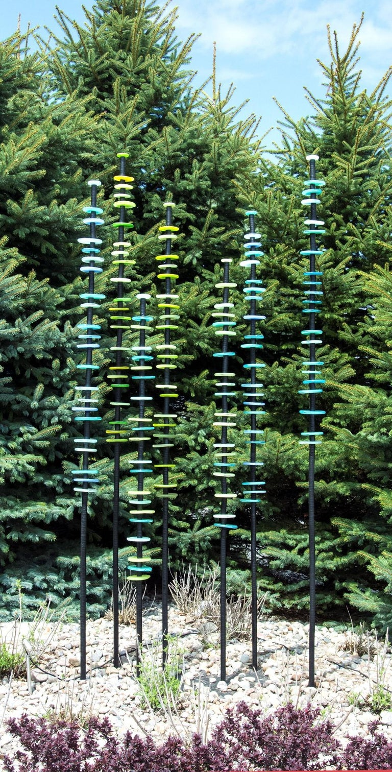 Standing Grove in Blues and Greens - tall, colourful, hand-blown glass sculpture - Sculpture by Susan Rankin