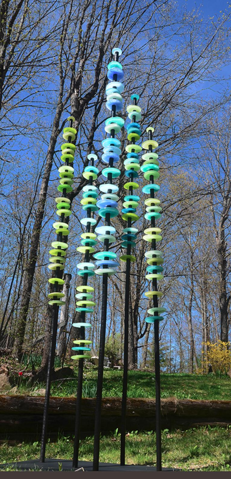 Susan Rankin Abstract Sculpture - Standing Grove in Blues and Greens - tall, colourful, hand-blown glass sculpture