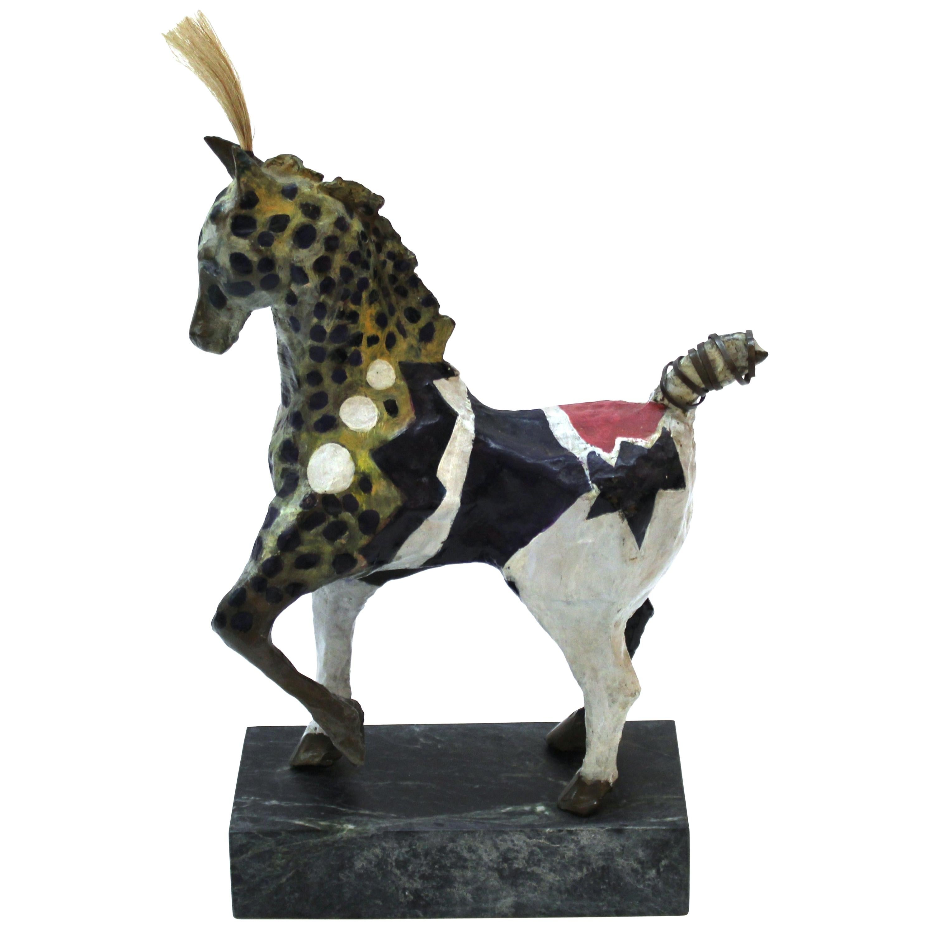 Susan Rowland Modern Painted Bronze Horse Sculpture on Marble Base