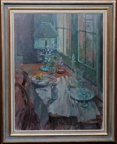 Still life - British art Impressionist interior oil painting flowers fish blue