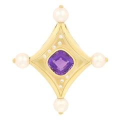Susan Sadler 6.08ctw Amethyst, Pearl, and Diamond Pendant, 18k Gold Omega Slide