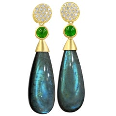 Susan Sadler Diamond Stud Labradorite Chrome Diopside Detachable Drop Earrings