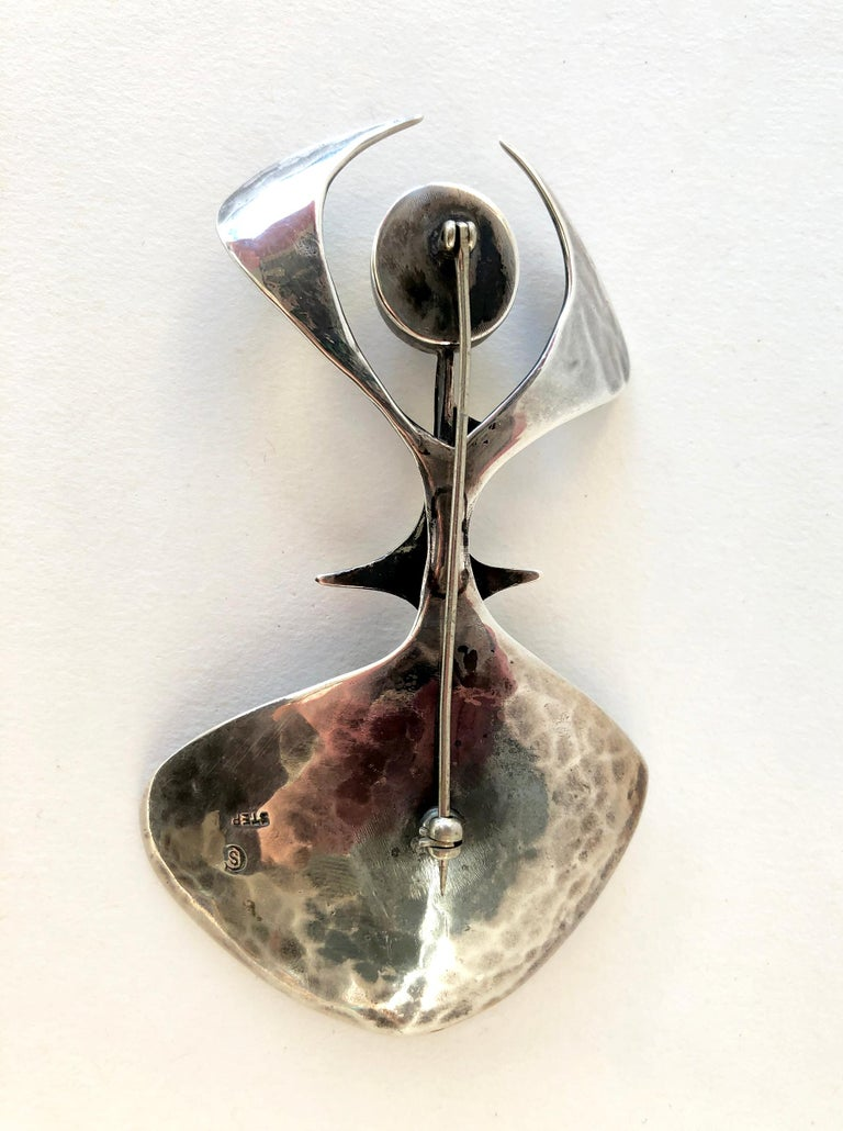Susan Saunders Cook Sterling Silver Aventurine Abstract American Modern Brooch For Sale 1