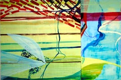 """""""Beach Walk #4""""  Large abstraction, turquoise, burgundy, chartreuse, blue, green"""