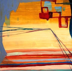 """""""Coming/Going""""  Small abstraction, shades of orange, blue, red, linear/geometric"""