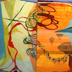 """""""Crossing Over""""  Abstraction in oranges, blue, green, yellow"""
