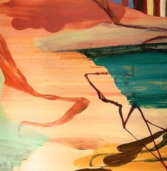 """""""Day's End""""    Abstraction in salmon, turquoise, brown, orange and blue"""
