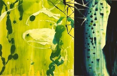 """""""Emergent"""" Vivid abstraction in shades of chartreuse, deep blue, white and black"""
