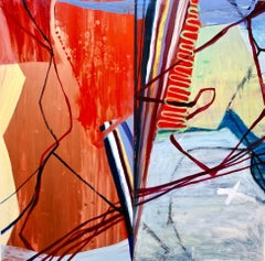 """""""High Frequency""""   Abstraction in red, blue, burgundy, tan, black"""