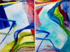 """""""Map Voice 1, 2""""  Abstraction on panels in blues, turquoise, green and red"""
