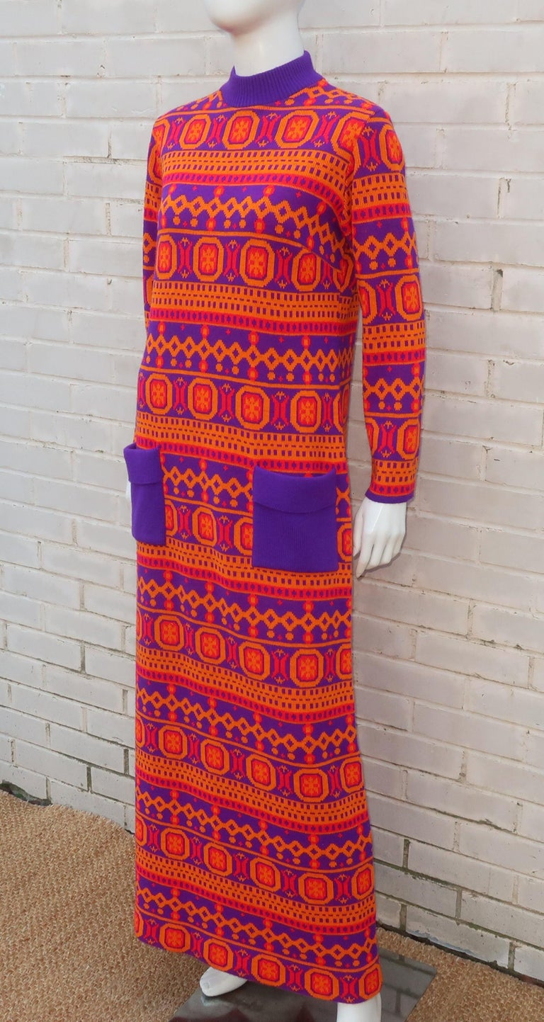 Susan Small English Mod Maxi Sweater Dress, 1970's For Sale 5