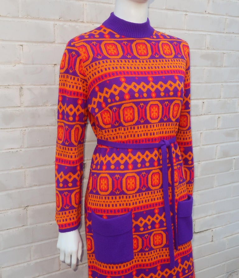 Red Susan Small English Mod Maxi Sweater Dress, 1970's For Sale