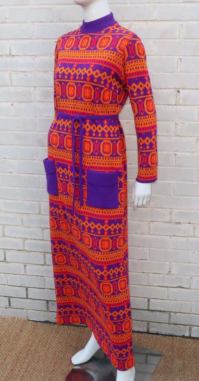 Susan Small English Mod Maxi Sweater Dress, 1970's In Good Condition For Sale In Atlanta, GA