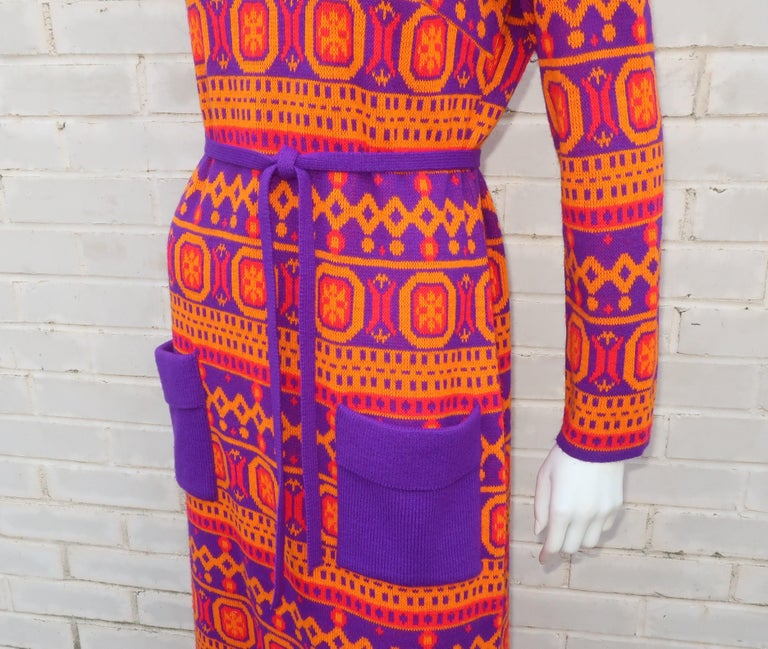 Women's Susan Small English Mod Maxi Sweater Dress, 1970's For Sale